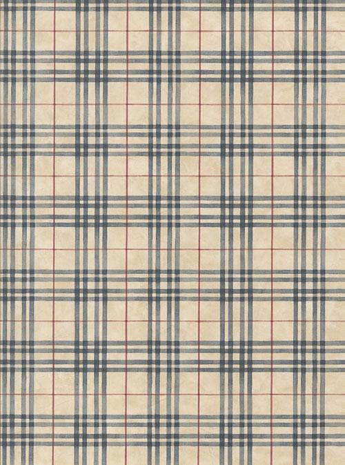 Navy Blue And Tan Country Plaid Wallpaper Double Roll