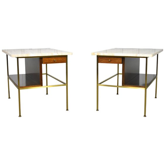 Pair of Paul McCobb Travertine Top End Tables for Calvin | From a unique collection of antique and modern end tables at https://www.1stdibs.com/furniture/tables/end-tables/