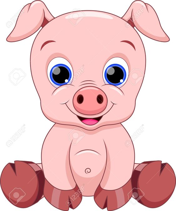 Cute Baby Pig Cartoon Royalty Free Cliparts, Vectors, And ... Cute Cartoon Pigs With Big Eyes