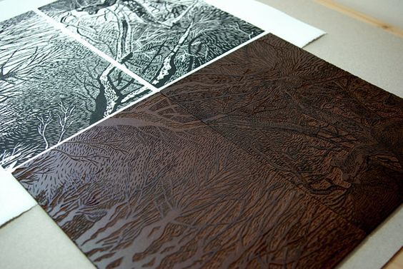Grabado original en linóleo de árboles. por CassaStudio en Etsy
