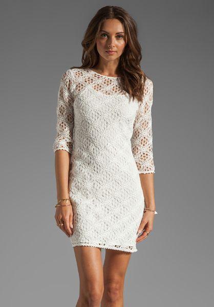 Dolce Vita White Cat Crochet Lace Long Sleeve Dress