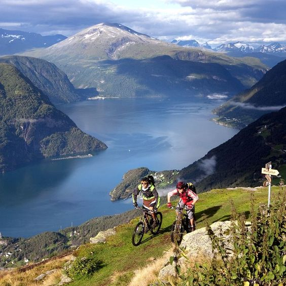 Mountainbiking in Geirangerfjord, Norway