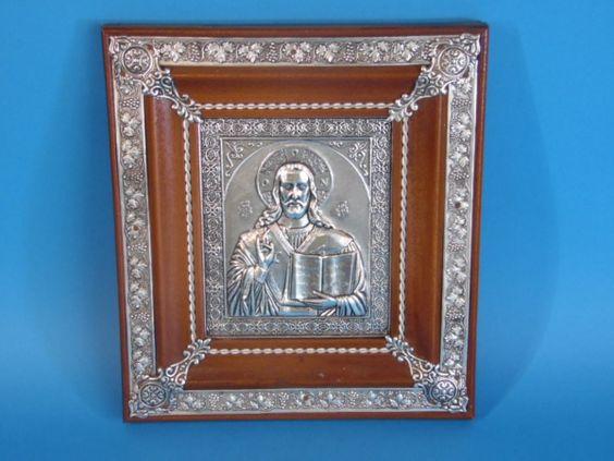 Antigo Icone Ortodoxo, feito em metal e madeira. Medidas: 22x20cm.