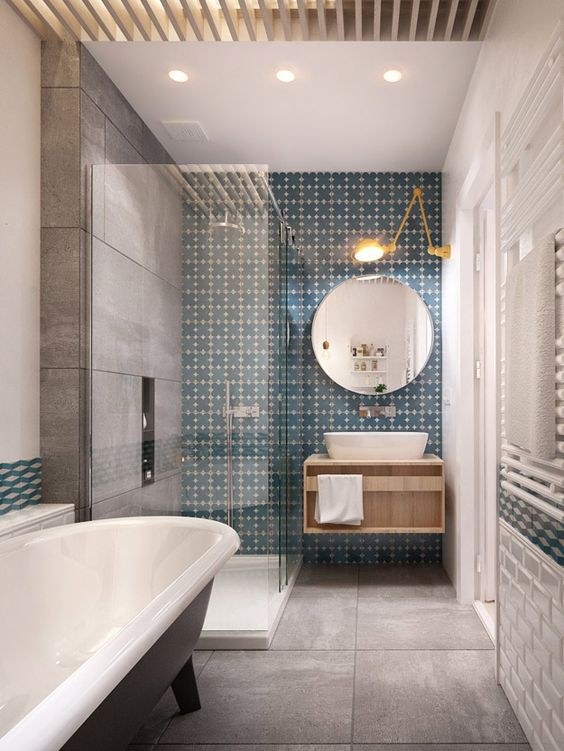 LOVE this bathroom. Great shower and sink and the tiles are fab. Space for a bath as well though?