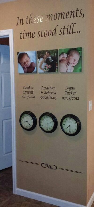 This would be such a amazing way to show off the kids and the times and days they where born. Also to show off when you got married, would never want to forget these moments. Such a great idea... Definitely would do this..
