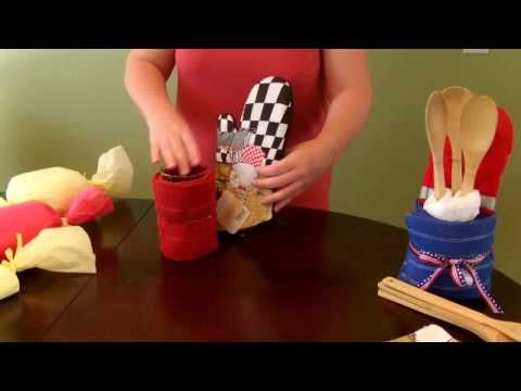 Create a unique gift for your next housewarming, remodel, thank you, holiday, or hostess needs! Easy to make and customize to any decor. You can even find these items at your local dollar store. And everything is reusable!  Supplies used:  2 dish towel  1-2 dish cloth  1 oven mitt  1 drinking glass   Set of bamboo utensils  Rubber bands and ribbon        ♥...