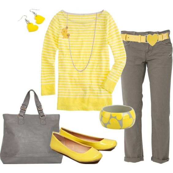 """Yellow & Grey Hearts"" by heather-rolin on Polyvore"