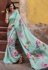 Light Turquoise Faux Georgette Saree with Blouse