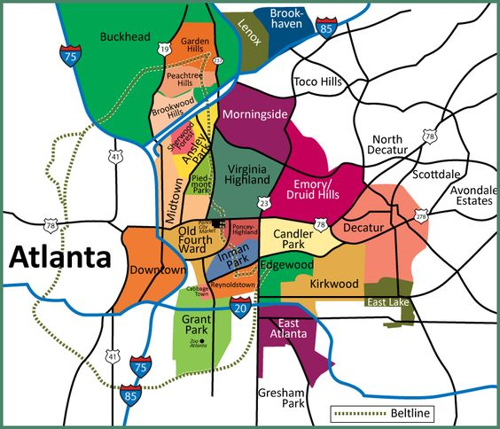 Map Of Atlanta Neighborhoods  Intown Atlanta Map Showing