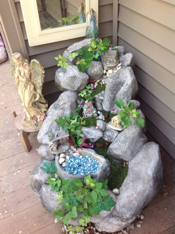 My fairy garden made from broken waterfall.
