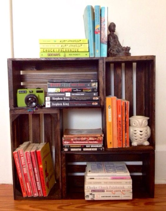 Wooden wine crate bookcase  by LittleNorthern on Etsy, $70.00