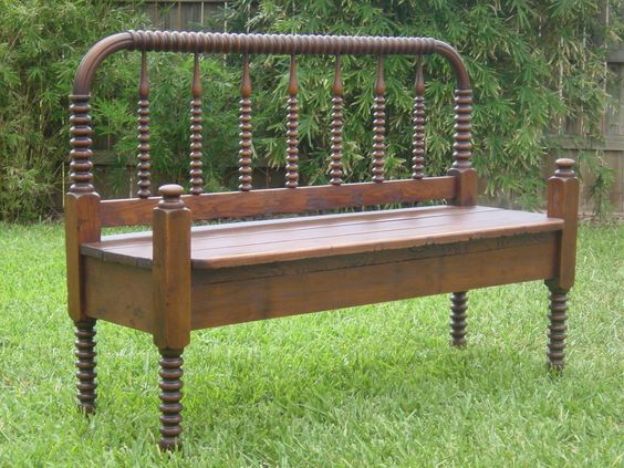 Vintage Re-purposed Antique Bed Bench Upcycle Furniture. $450.00, via Etsy.