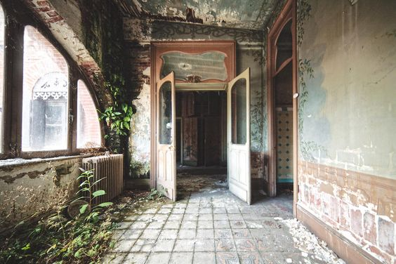 residential double doors viney Haunting photos of abandoned castles