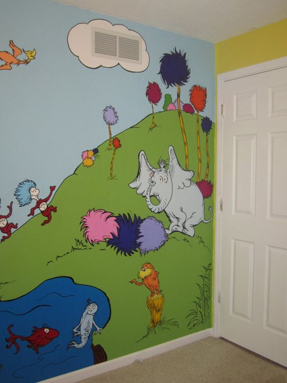 This is part of the mural i hand painted for my baby girl for Dr seuss mural nursery
