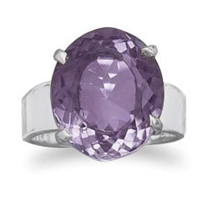 Oval Faceted Amethyst Ring