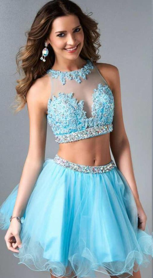 Two Piece Jewel Neck Lace Embroidered Short Tulle Prom Dress with Beading: