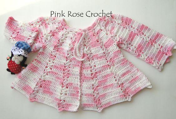 PINK ROSE CROCHET : Casaquinho Princesinha Rosa Baby Cardigan