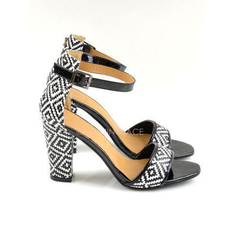 Kirkwood Black and White Open Toe Heels | Amazing Lace