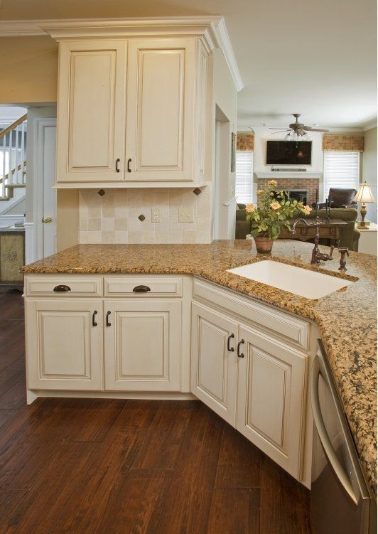 Refaced kitchen cabinets antique english turin finish for Antique white finish kitchen cabinets