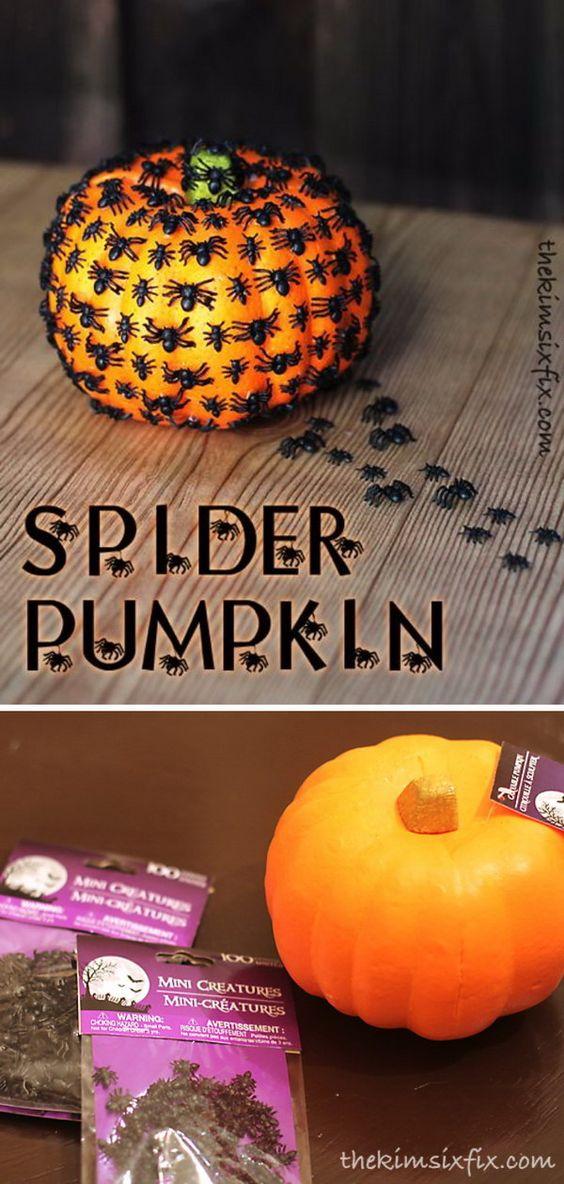30 Dollar Store Halloween Crafts Including: DIY Creepy Crawly Spider Pumpkin.