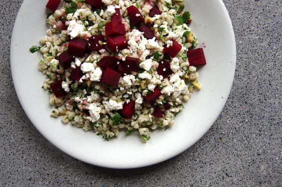 roasted beet + barley salad in a maple mustard dressing via Witchin' In the Kitchen: