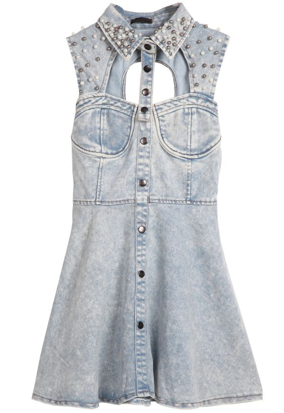 Light Blue Sleeveless Sequined Hollow Backless Denim Dress - Sheinside.com