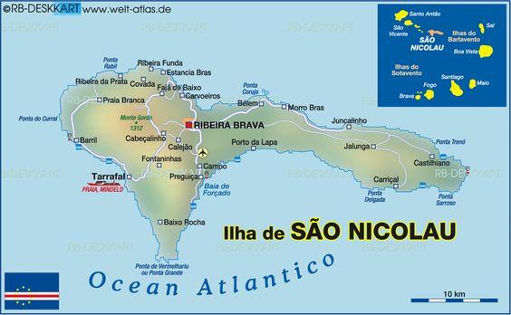 Map of Sao Nicolao,    Cape Verde