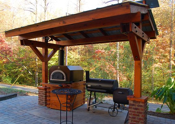 Tin roof outdoor kitchen design outdoor kitchen pergola for Outdoor kitchen under pergola