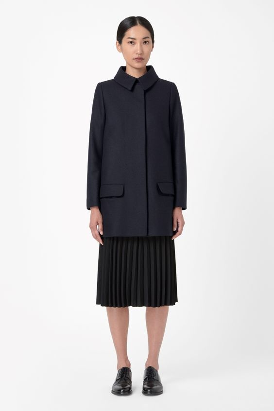 My new winter coat. Gorgeously complex colour , blacks with subtle navy and burgundy hints.  COS | A-line wool coat