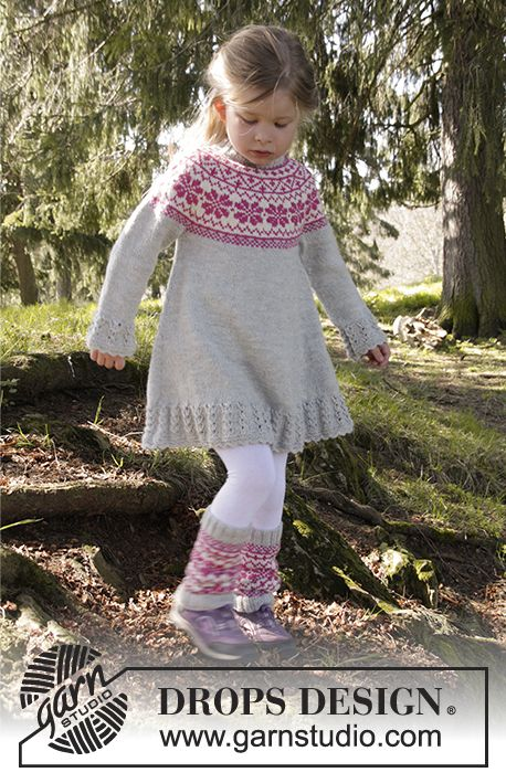 Forest Dance girls dress with nordic pattern on yoke by DROPS Design. Free #knitting pattern