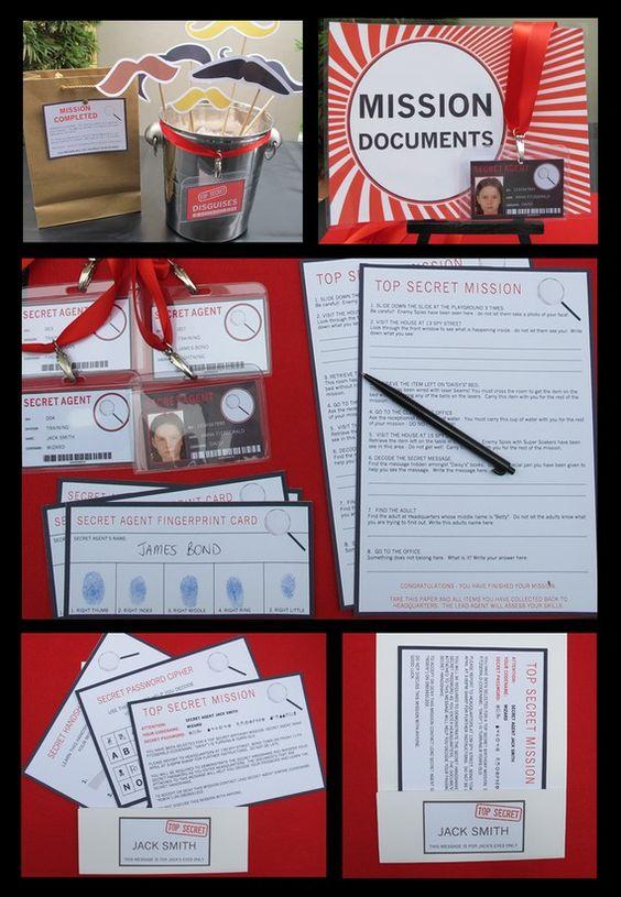 spy party invitations decorations secret agent full printable package instant download. Black Bedroom Furniture Sets. Home Design Ideas
