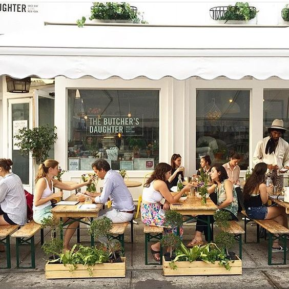 "SUNDAY BRUNCH BUCKET LIST | THE BUTCHER'S DAUGHTER, New York, NY. ""serves weekend brunch in a 35-seat beautifully designed, light-filled space. During the warmer months, you can also gather on the sidewalk terrace."""