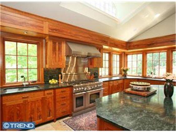 KITCHEN!!Wood cabinets with dark granite and backsplash?