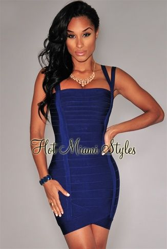 Navy-Blue Double Straps Arched Bandage Dress Womens clothing ...
