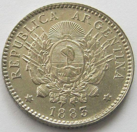 Argentina, Silver Coin, 10 Centavos 1883 ( 1/10 de Patacon), AUN/UNC !