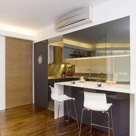 Half Open Kitchen Design. Semi open Kitchen  Sliding glass Panel Spacious Countertop Bar Table Functional Minimal Soothing Sleek Look Contemporary
