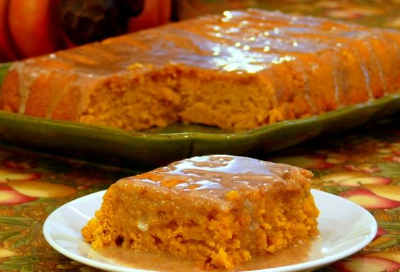 2 ingrediant pumpkin cake with apple cider glaze: 1 Yellow Cake Mix  1 15 ounce can of pumpkin puree. Bake at 350 degrees for 28 minutes. Let cool in pan for 10 min. Take cake out and pour the glaze over the cake! For the Glaze:  1-1/2 cups powdered sugar  3 Tablespoons apple cider  3/4 teaspoon pumpkin pie spice