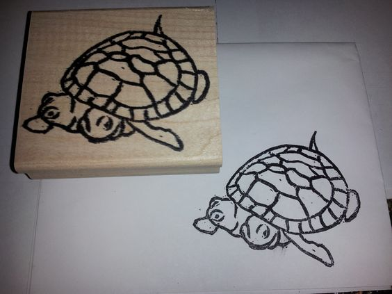 Stampin' Up! Undefined Stamps.  Desiree loves the two headed turtle at our local zoo and asked me to make a stamp of her.  Here's my image I carved out for her. - Laura Hill