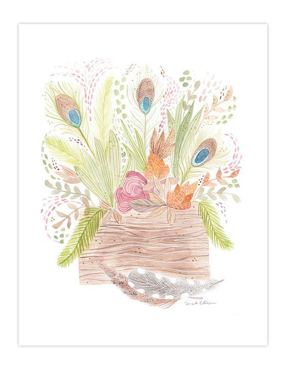 art de l'aquarelle bouquet imprimer d'automne par verysarie sur Etsy