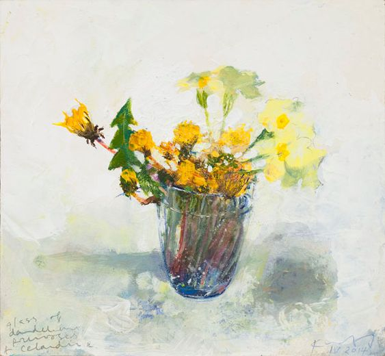 Kurt Jackson: A glass of dandelions, primroses and celandine. April 2014 Campden Gallery, fine art, Chipping Campden, camden gallery, contemporary, contemporary arts, contemporary art, artists, painting, sculpture, abstract painting, gloucestershire,  cotswolds, painting for sale, artwork for sale, modern art gallery, art exhibitions,arts gallery, gallery art, art gallery UK