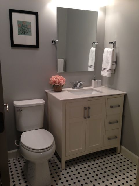 Finished Black White And Gray Bathroom Sw Light French Gray Walls Vanity From Joss Main
