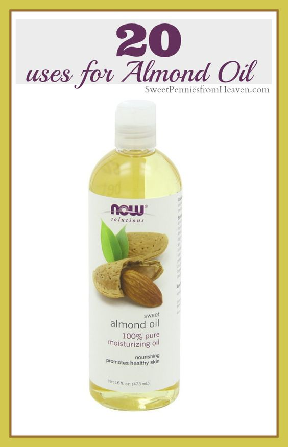 There are so many awesome uses for Almond Oil! It's very affordable and NATURAL and there are many health benefits. Click for a list of 20 great uses for Almond oil including beauty and hair treatments!! http://sweetpenniesfromheaven.com/20-uses-for-almond-oil/