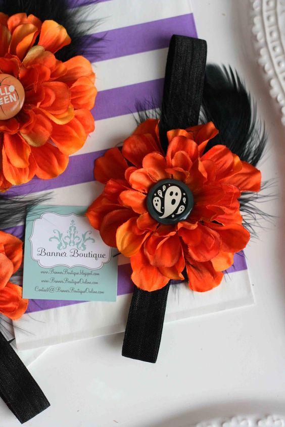 Halloween Zinnia Flower Headband OR Clip with Holiday or Beaded Center-Halloween Zinnia Flower Headband OR Clip with Holiday or Beaded Center