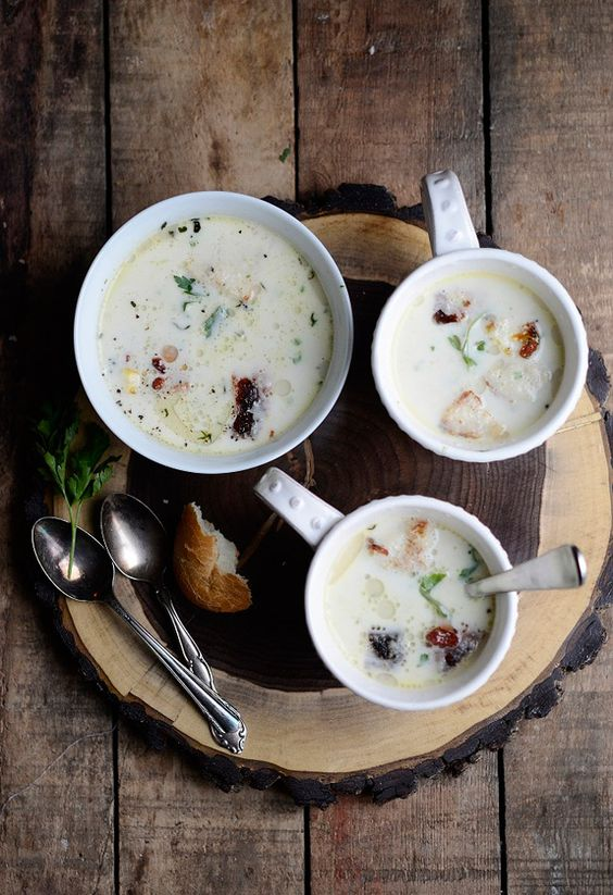 Parsley root and chestnut soup with bacon and croutons by verses from ...