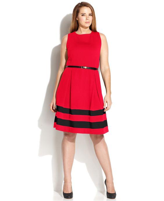 Calvin Klein Plus Size Striped-Hem Belted Dress - Dresses - Plus Sizes - Macy's