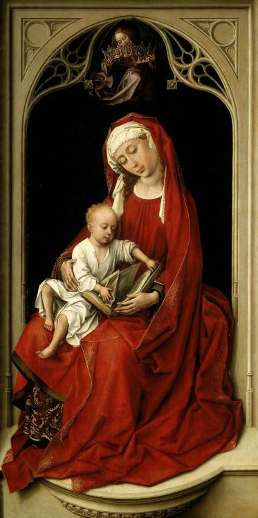 books0977:  Virgin and Child (1435-1438).  Roger van der Weyden (Flemish, 1400-1464). Oil on panel. Museo Nacional del Prado. The Christ Child plays with a book in Mary's lap, a clear allusion to the Holy Scriptures that announce Christ's redemptive mission. Above, an angel crowns Mary. The two figures placed under a niche with gothic tracery, the neutral background, and strongly plastic character of the figures, with their considerable volume, makes them look like polychrome sculptures.: