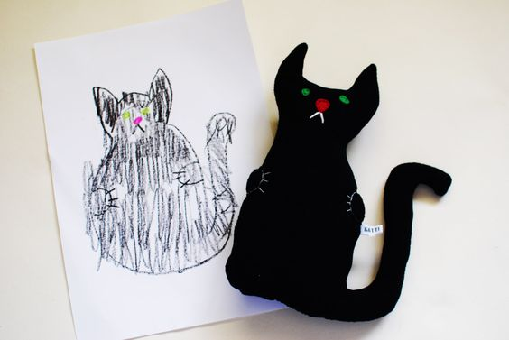 black cat toy / custom made toy from child's drawing / personalised toddler gift / cuddly travel buddy / Waldorf soft toy / 1st Halloween black cat toy custom made toy child's drawing toy personalised toy cuddly travel buddy Waldorf soft toy 1st Halloween Halloween ornament design your toy made to order toy bespoke rag doll toy from drawing design birthday gift 12.99 GBP #goriani