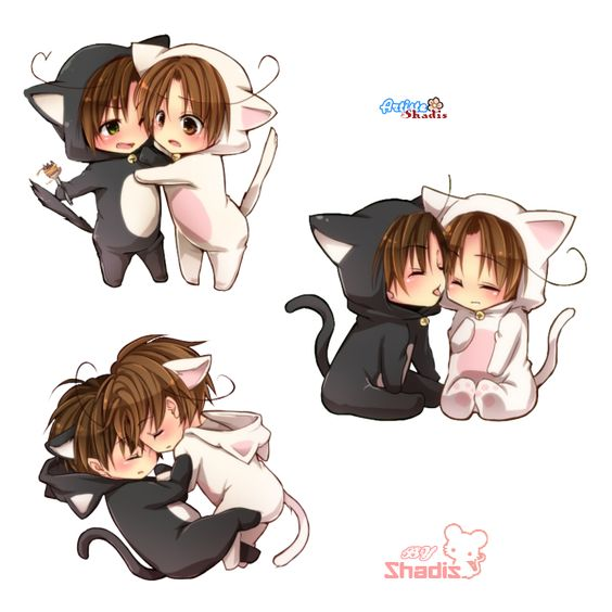 Cartoon Characters Kissing Each Other : Pics for gt anime chibi cat couples