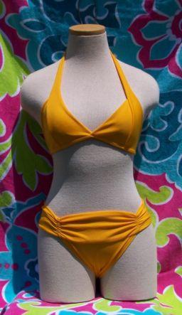 Marigold halter top bikini with full coverage bottom in Brazilian Swimsuit Blowout!!
