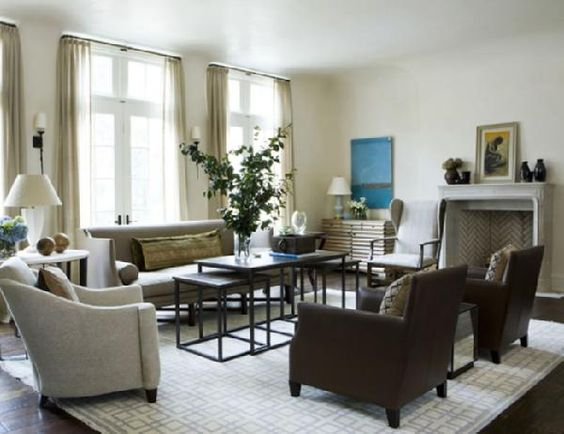 living rooms - white cream brown blue gray taupe sheers drapes ...